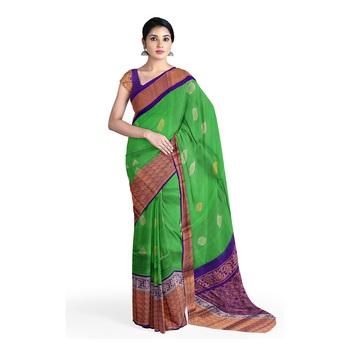 Green hand woven andhra pradesh handloom saree with blouse
