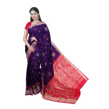 Dark blue hand woven andhra pradesh handloom saree with blouse