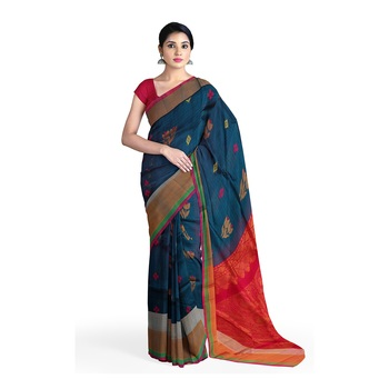 Dark turquoise hand woven andhra pradesh handloom saree with blouse