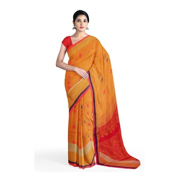 Light brown hand woven andhra pradesh handloom saree with blouse