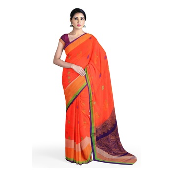 Light pink hand woven andhra pradesh handloom saree with blouse