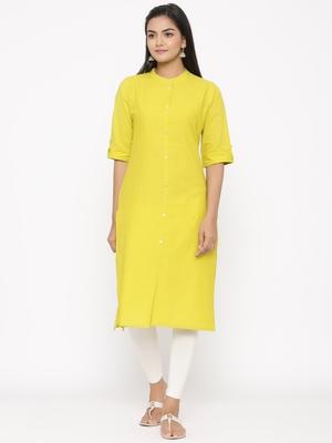 Women's Lemon Cotton Printed A-line Kurta