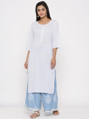 Women's White Cotton Printed A-line Kurta plazzo