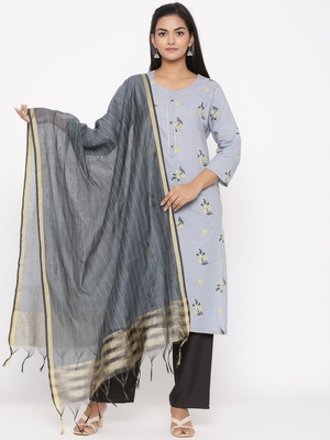 Women's Grey Cotton Printed A-line Kurta plazzo
