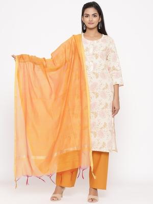 Women's Mustard Cotton Printed A-line Kurta plazzo