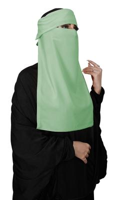 JSDC Women Bubble Georgette Pista Colorr Plain Single Layer Cap Niqab Nosepiece Hijab