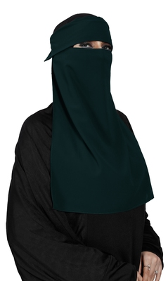 JSDC Women Bubble Georgette Plain Single Layer Cap Niqab Nosepiece Hijab