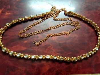 Gold agate waist-belt
