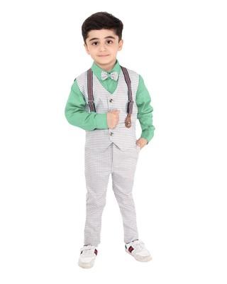 Turquoise plain cotton silk boys-suit