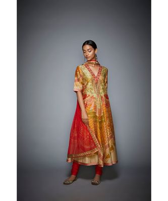 Ri Ritu Kumar orange cotton silk with Placket Kurta With Churidar And Dupatta