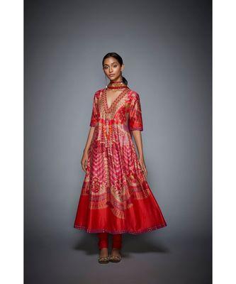 Ri Ritu Kumar red cotton silk with Placket Kurta With Churidar And Dupatta