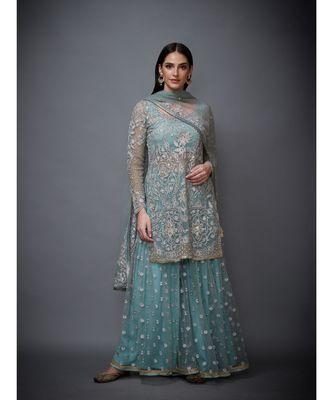 Ri Ritu Kumar blue net Round Neck Full Sleeves Kurta With Busties Inner, Garara and Chunni