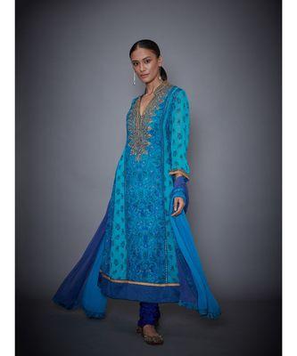 Ri Ritu Kumar Royal Blue & Turquoise Embroidered Kurta With Churidar & Dupatta