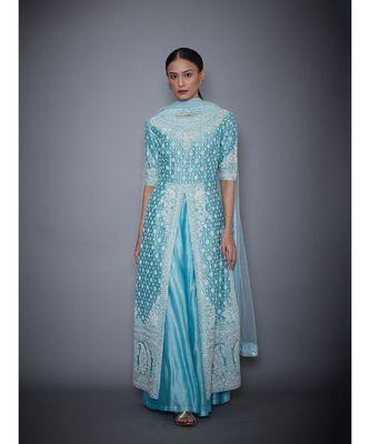 Ri Ritu Kumar blue cotton silk Aquamarine Embroidered Kurta With Palazzo & Dupatta