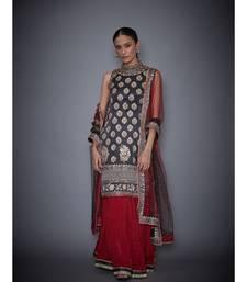 Ri Ritu Kumar black satin Band Collar Sleeveless Kurta with Skirt and Dupatta