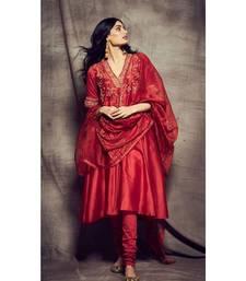 Ri Ritu Kumar Red cotton silk Floral Kurta With Churidar and Dupatta