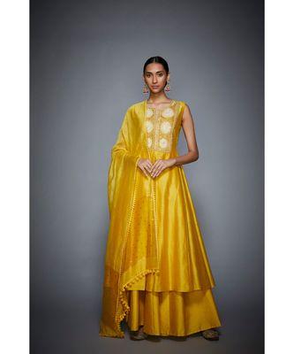 Ri Ritu Kumar Yellow cotton silk Floral Kurta With Palazzo and Dupatta