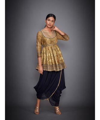 Ri Ritu Kumar Gold & Navy Aari Embroidered Kurti With Dhoti Pants