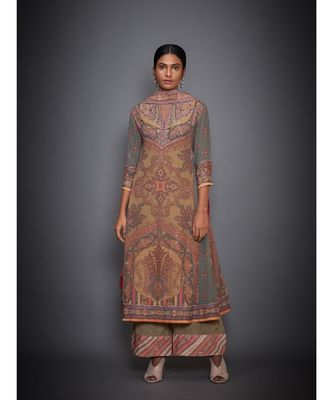 Ri Ritu Kumar Peach Abstract Kurta With Pants & Dupatta