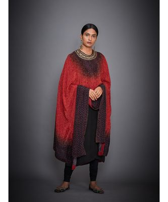 Ri Ritu Kumar Red/Black Embroidered Kurta With Cape And Churidar