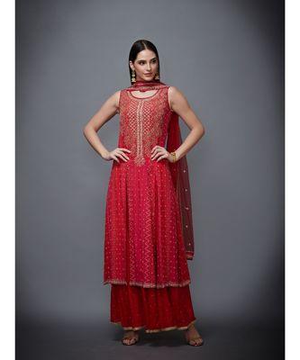 Ri Ritu Kumar red chiffon Round Neck Sleeveless Kurta With Palazzo & Dupatta