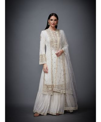 Ri Ritu Kumar White Embroidered Kurta With Skirt And Dupatta