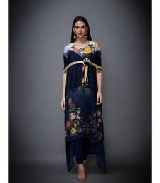 Ri Ritu Kumar Off White & Indigo Floral Ombre Cape With Inner, Leggings & Dupatta