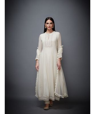 Ri Ritu Kumar white georgette Kurta With Churidar & Dupatta