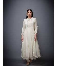 Ri Ritu Kumar white georgette Kurta With Churidar & Dupatta