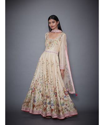 Ri Ritu Kumar Beige Cotton silk Kurta With Churidar & Dupatta