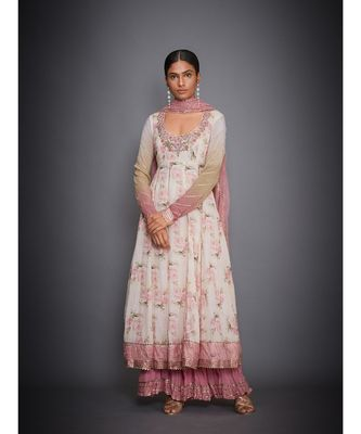 Ri Ritu Kumar Offwhite and Pink Floral Tropical Kurta With Palazzo & Dupatta