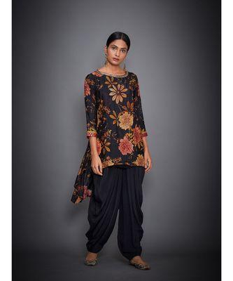 Ri Ritu Kumar Black Multi Floral Tropical Kurta With Dhoti