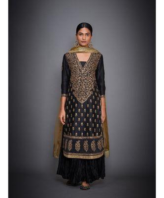 Ri Ritu Kumar Black cotton silk Kurta With Crinkled Palazzo and Dupatta