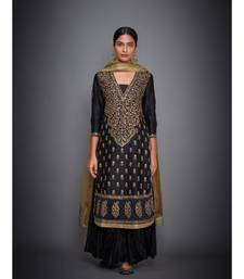 Ri Ritu Kumar Black cotton silk Kurta With Crinkled Palazzo and Dupatta