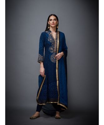 Ri Ritu Kumar Indigo Embroidered Kurta With Dupatta And Churidar