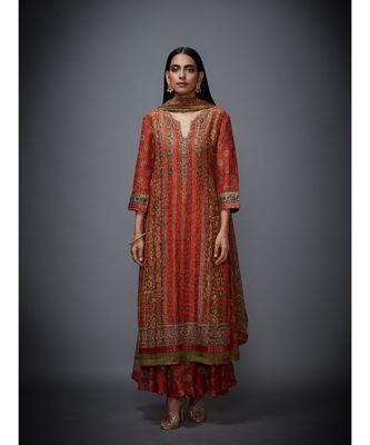 Ri Ritu Kumar Green cotton silk Kurta With Skirt & Dupatta