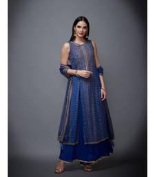 Ri Ritu Kumar Blue Chiffon Round Neck Sleeveless Kurta With Palazzo & Dupatta