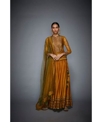 Ri Ritu Kumar Mustard & Olive Green Embroidered Ensemble Kurta With Skirt And Dupatta