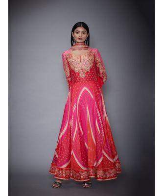 Ri Ritu Kumar Orange cotton silk Kurta With Churidar and Dupatta