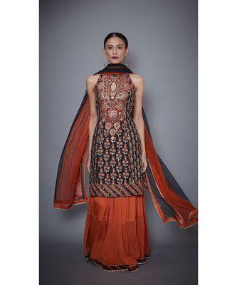 Ri Ritu Kumar Black & Rust Embroidered Kurta With Dupatta And Skirt