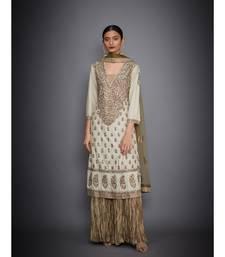 Ri Ritu Kumar Beige Silk Kurta With Crinkled Palazzo and Dupatta