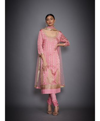 Ri Ritu Kumar Pink Silk Satin Embroidered Kurta With Dupatta And Churidar