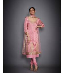 Ri Ritu Kumar Pink Silk Satin Embroidered Kurta With Dupatta And Churidar