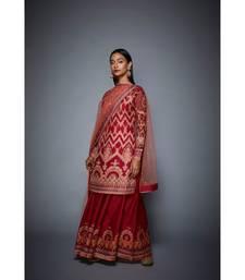 Ri Ritu Kumar Red viscose Kurta With Palazzo & Dupatta