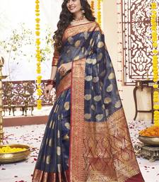 Navy blue woven tissue saree with blouse