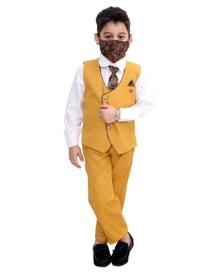 Yellow plain cotton silk boys-suit