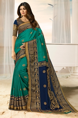 light blue printed brasso saree with blouse