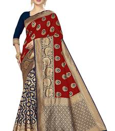 Red woven banarasi silk saree with blouse