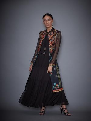 Ri Ritu Kumar Black & Mustard Embroidered Dress With Jacket