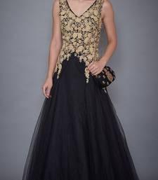 Ri Ritu Kumar V Neck Sleeveless Black Embroidered Gown